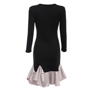Sexy Ruffled Black Split-joint Round Neck Long Sleeve Mini Dress