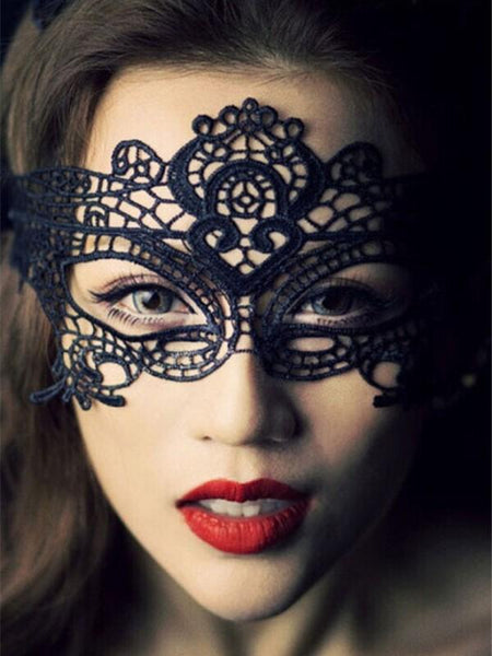 Halloween Sexy Black Cutout Lace Masquerade Party Mask