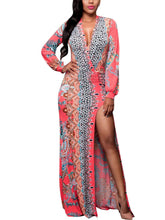 Load image into Gallery viewer, Pretty Floral V-neck Split-joint Floor Maxi Dress