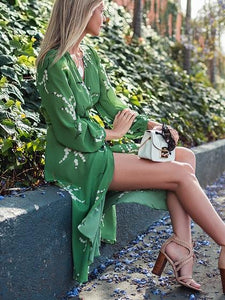 Green V-neck Print Lace-up Holiday Cardigan Long Dress