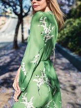 Load image into Gallery viewer, Green V-neck Print Lace-up Holiday Cardigan Long Dress