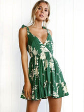 Load image into Gallery viewer, Green Lace-up V-back Printed Mini Dress