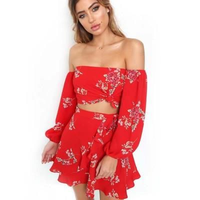 Chiffon Off The Shoulder Skirt and Sleeve Top 2 Piece Set