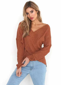 Fashion Cross V-neck Knitting Sweater Tops