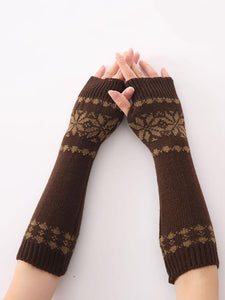 Bohemia Oversleeves Knitted Arm Warm Winter Fingerless Sleevelet Mittens