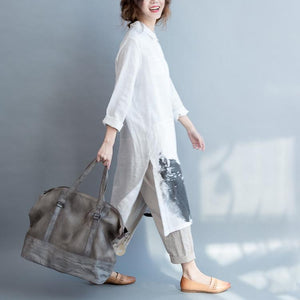 Linen Cotton Loose Long Sleeve Shirt Dress