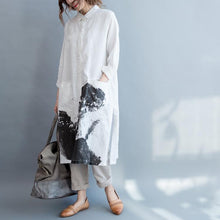 Load image into Gallery viewer, Linen Cotton Loose Long Sleeve Shirt Dress