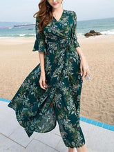 Load image into Gallery viewer, Pretty Bohemia Floral Half Sleeve Beach Maxi Dress