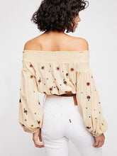 Load image into Gallery viewer, Embroidered Puff-sleeves Blouses&Shirts Top