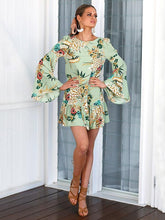 Load image into Gallery viewer, Floral Flared Sleeves Mini Dress