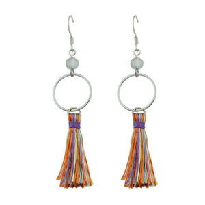 Tassel ethnic jewelry boho earrings rainbow colorful round circle shape party earring