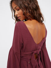 Load image into Gallery viewer, Flare Sleeves Backless Romper Mini Dress
