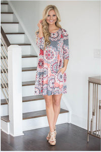 Fashion print collar Casual Boho Vacation  Dresses