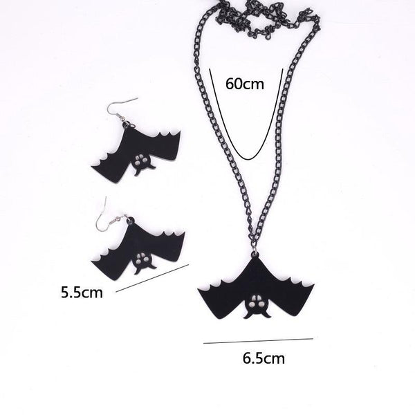 Retro Fashion Halloween Black Bat Hook Earring Necklace