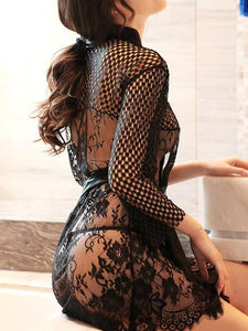 Sexy Midi Lingerie Eye Lash Lace See Through Elastic Net Temptation Nightdress