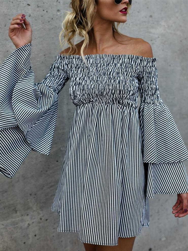 Striped Off-the-shoulder Flared Sleeves Mini Dress