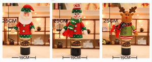 Christmas figurines champagne bottle set