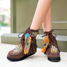 Load image into Gallery viewer, Boho Embroidered Feather Tassels Fleece Ankle Short Boots