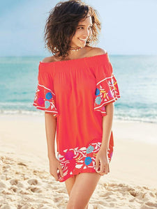 Elastic Off-the-shoulder Embroidered Mini Dress