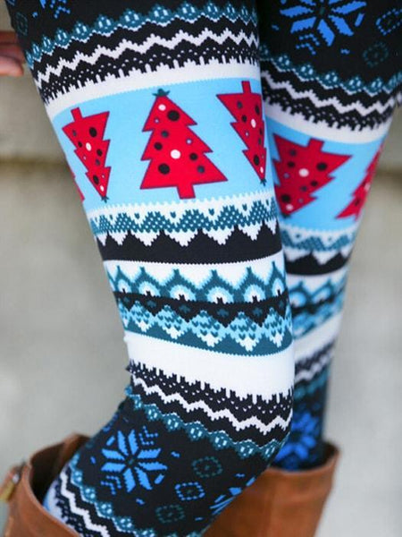 Christmas Tree Tribal Pattern Leggings In Blue