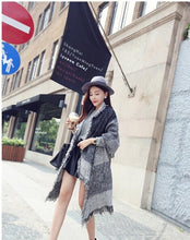 Load image into Gallery viewer, Autumn Raw Edge Beveled Design Thick Plaid Long Warm Scarf Shawl