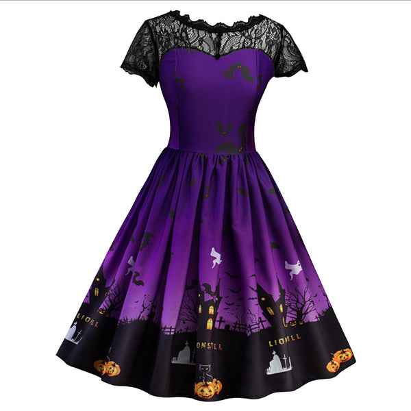 Women Short Sleeve Castle Pumpkin Halloween Lace Dress