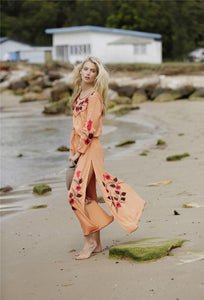Floral Long Sleeve Split Beach Maxi Dress