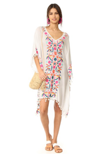 Load image into Gallery viewer, Floral Embroidered Beach Batwing Sleeve Boho Loose Cover-Up Dress