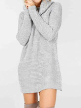 Load image into Gallery viewer, Fashion Long Sleeve Casual High Neck Striped Knit Sweater Dress