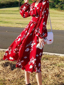 2018 New Chiffon Floral Print V Neck Long Sleeve Beach Bohemia Dress