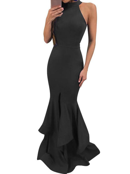 Sexy Sleeveless Mermaid Solid Color Bodycon Evening Maxi Long Dress