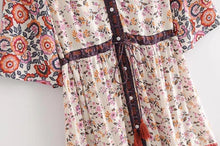 Load image into Gallery viewer, Print Short Sleeve V Neck Vintage Bohemia Dress