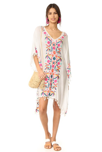 Floral Embroidered Beach Batwing Sleeve Boho Loose Cover-Up Dress