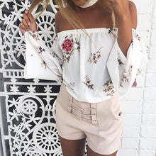 Load image into Gallery viewer, Floral Print Off Shoulder Long Sleeve Tops Blouse