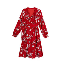 Load image into Gallery viewer, 2018 New Chiffon Floral Print V Neck Long Sleeve Beach Bohemia Dress