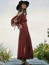 Load image into Gallery viewer, Long sleeved bohemian solid color beach holiday elegant long dress