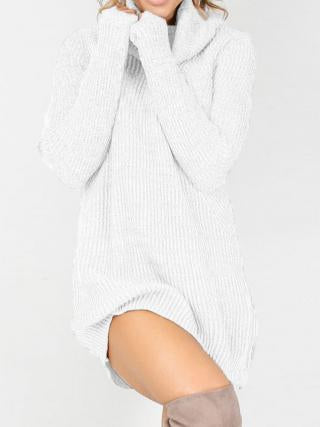 Fashion Long Sleeve Casual High Neck Striped Knit Sweater Dress