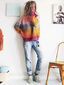 Colorful Long Sleeve Autumn Winter Tops Sweater