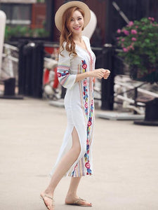Pretty Bohemia Embroidery Long Sleeve V Neck Side Split Maxi Beach Dress