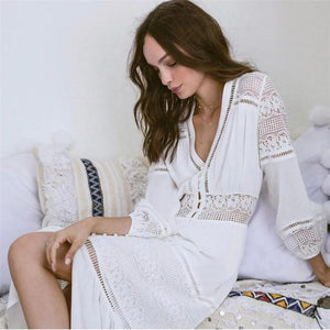 2018 new arrival Sexy crocheted lace dress skirt single-breasted lady dress