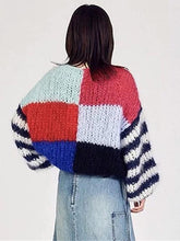 Load image into Gallery viewer, Knitting Split Joint Puff Sleeve Sweater Tops