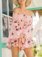 Load image into Gallery viewer, Floral Print Off Shoulder Long Sleeve High Waist Rompers