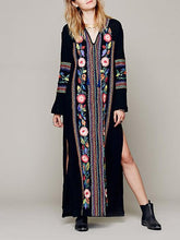 Load image into Gallery viewer, Pretty Bohemia Embroidery Long Sleeve V Neck Side Split Maxi Beach Dress