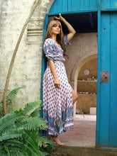 Load image into Gallery viewer, Pretty Bohemia Floral V Neck Half Sleeve Front Split Maxi Dress
