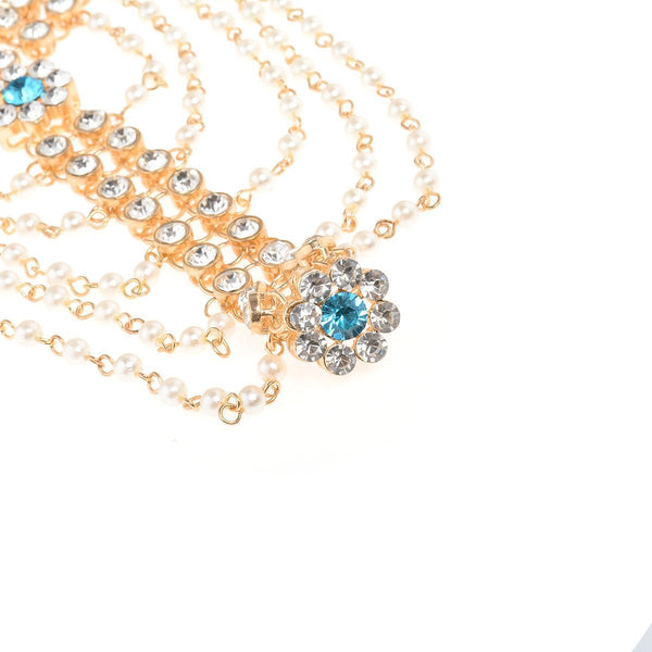 Exaggerated personality alloy chain anklets with pearl tassel diamonds and even finger-decorated