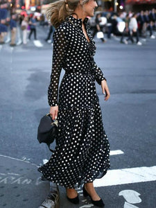 Polka Dot Long Sleeve V Neck Maxi Dress