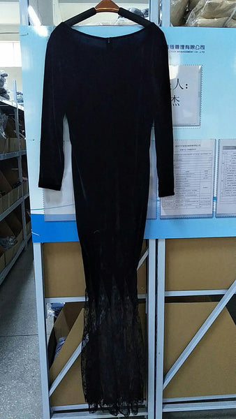 Gothic Halloween Addams Ghost Witch Costume Horror Black Lace Dress