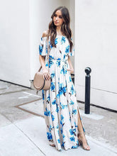 Load image into Gallery viewer, 2018 New Floral Print Off Shoulder Short Sleeve Side Split Maxi Long Dress