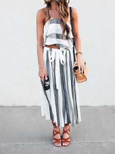 Stripe Bohemia Tops And Pants Suits