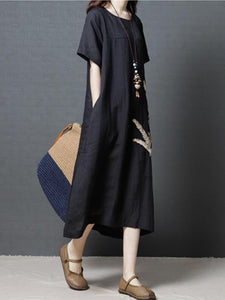 2018 Short Sleeve Round Neck Loose Maxi Dress